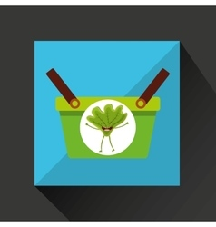 green basket market and happy lettuce vector image