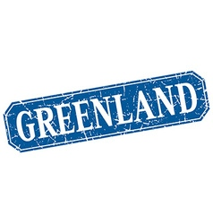 Greenland blue square grunge retro style sign vector