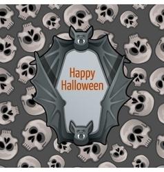 Halloween card with bat and skulls vector