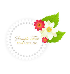 happy holiday postcard with flowers in round frame vector image