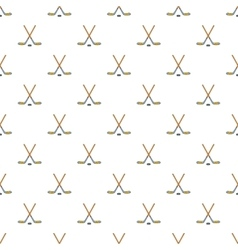 Hockey sticks and puck pattern cartoon style vector image