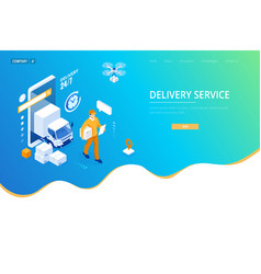 isometric logistics and delivery concept delivery vector image