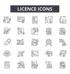 licence line icons for web and mobile design vector image