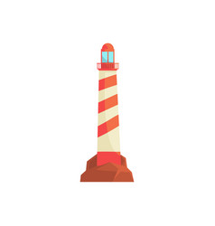 Lighthouse ocean beacon searchlight tower for vector