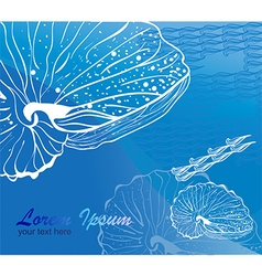 Line drawing seashell on blue background vector image