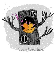 Lovers squirrel Big beautiful tree vector image