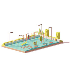 low poly street fitness gym vector image