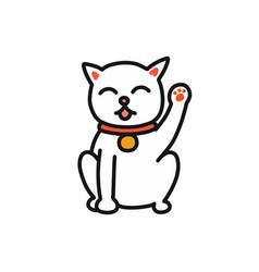 Maneki neko doodle icon vector