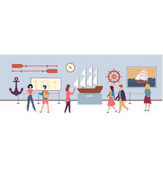 maritime exhibition in museum or art gallery vector image