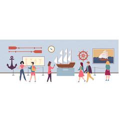 Maritime exhibition in museum or art gallery vector