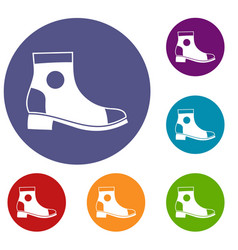 Men boot icons set vector