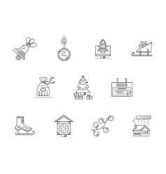 Merry Christmas line icons set vector image