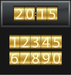 Number set from 1 to 9 digital clock gold vector image