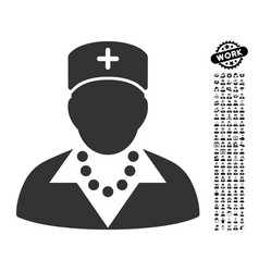 Nurse icon with men bonus vector