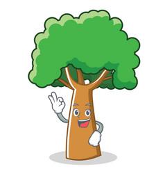 Okay tree character cartoon style vector