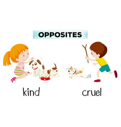 Opposite word of kind and cruel vector