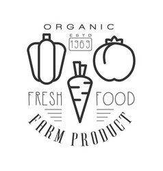 organic fresh food farm product logo black and vector image