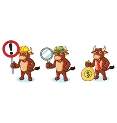 Ox Brown Mascot with money vector image