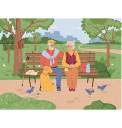 pensioners sitting on bench in park elderly people vector image