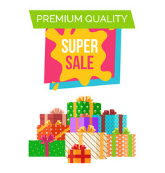 premium quality super sale sticker with headline vector image
