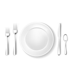 Realistic table setting arrangement fork spoon vector