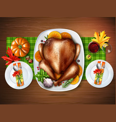Realistic top turkey composition vector
