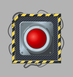 Red button cyber punk style icon template vector