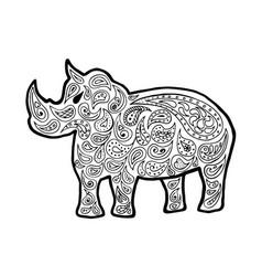 rhinoceros zen tangle rhino vector image