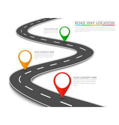 road way location info-graphic template with pin vector image