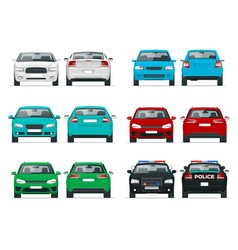 set cars sedan vehicle eco-friendly hi vector image
