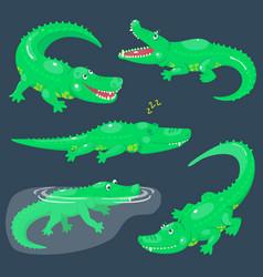 Set cute cartoon crocodiles for children vector