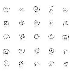 set dotted spirals vector image