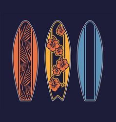 Set surfboard print design for surfing vector