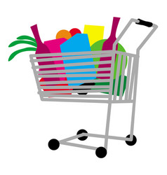 shopping cart full any goods vector image