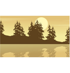 silhouette of spruce with lake scenery vector image