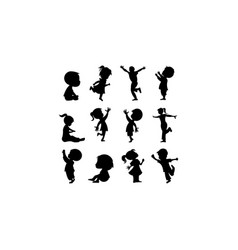 Silhouette toddler playing vector
