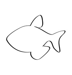 Silhouette with line contour of fish vector