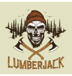 Skull-lumberjack with beardhat and two axes vector image