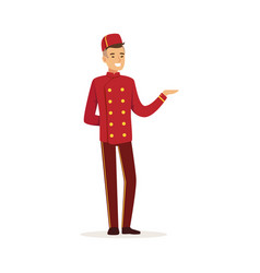 Smiling doorman character wearing red double vector