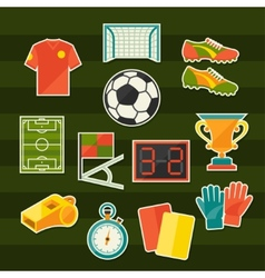 Soccer football sticker icon set in flat design vector image