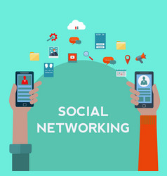 social networking on mobile phones concept vector image