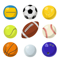 sport equipment different balls in cartoon style vector image vector image