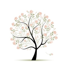 Spring tree with roses for your design vector