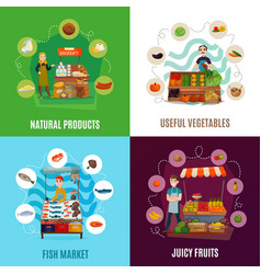 street food concept icons set vector image