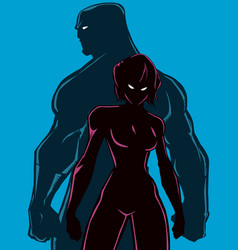 superhero couple back to back silhouettes vector image