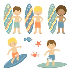 Surfing boys vector image