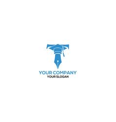 T graduation education logo design vector