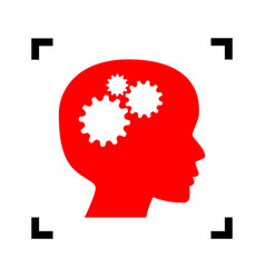 thinking head sign red icon inside black vector image
