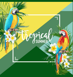 tropical flowers and parrot summer graphic vector image