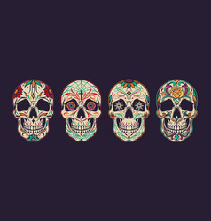 vintage colorful mexican sugar skulls collection vector image